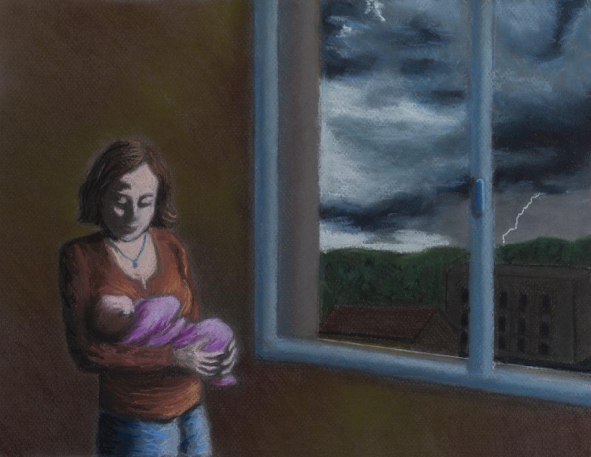 Pastel sur la maternité