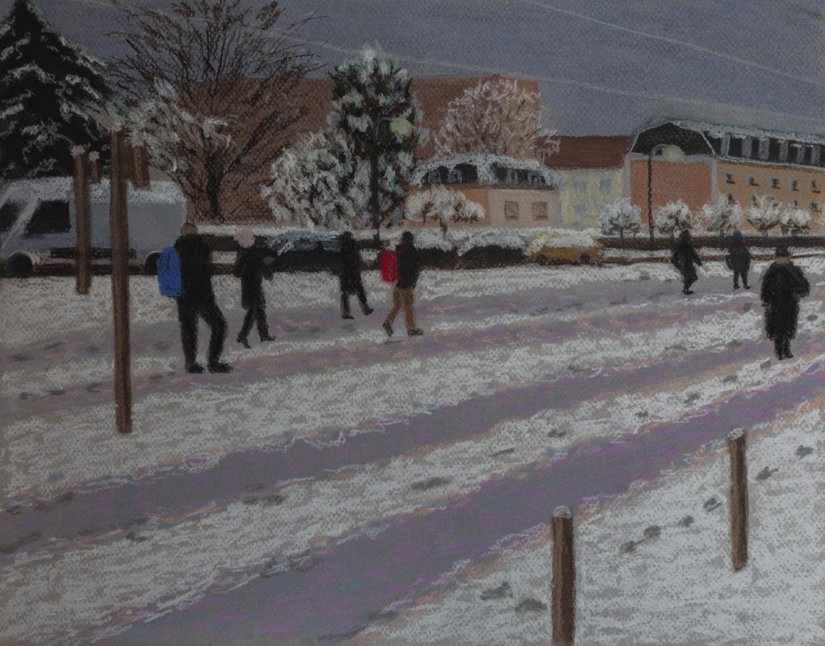 Pastel sur la neige en ville