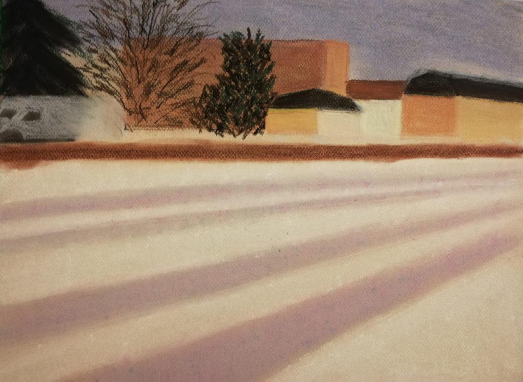 Ebauche du Pastel soir de neige, ajout des immeubles
