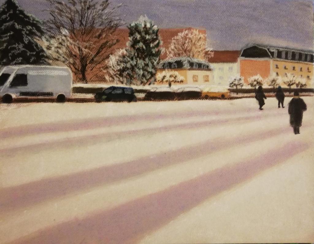 Ebauche pastel soir de neige, ajout détail et personnages
