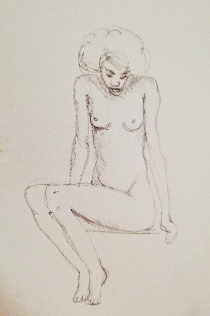 Croquis femme nue assise