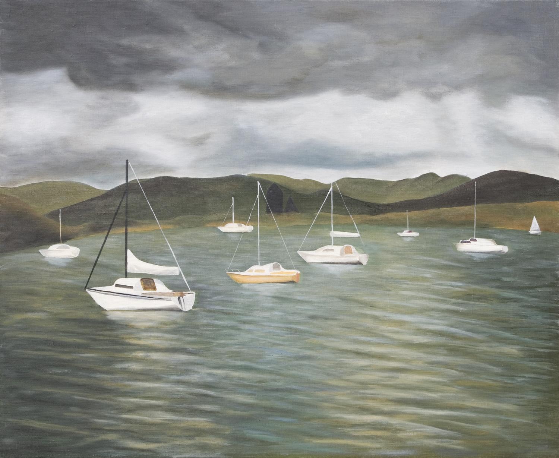 Bateaux sur un lac, temps couvert