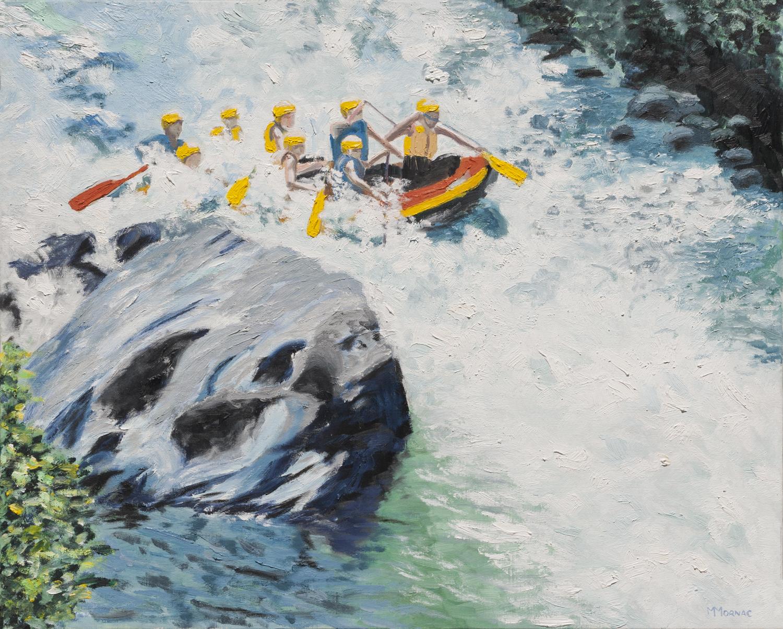 Groupe sur une bouée dans les rapides