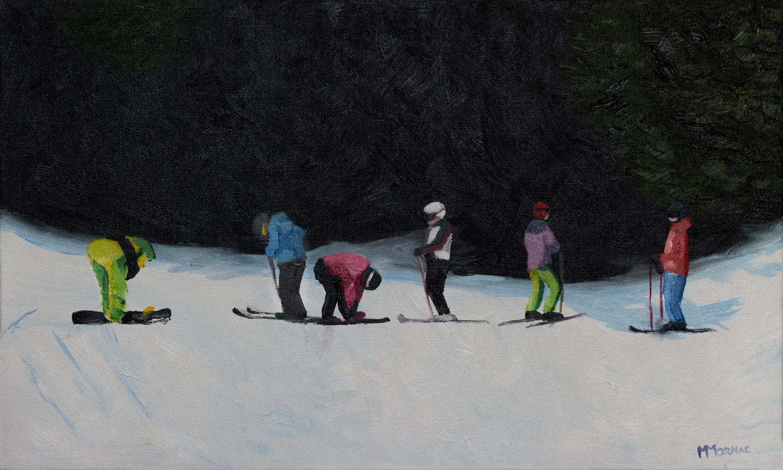 Skieurs en pause